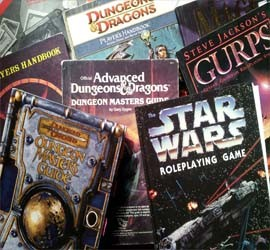 RPG books in a pile